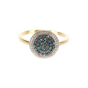 14K Gold Blue & White Diamond Ring