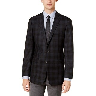 Calvin Klein Mens Two-Button Suit Jacket Wool Checkered Print