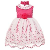 Baby Girls Fuchsia White Floral Jeweled Easter Flower Girl Bubble Dress 3-24M