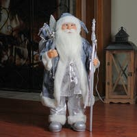 "25"" Ice Palace Standing Santa Claus in Blue and Silver Holding A Staff Christmas Figure"