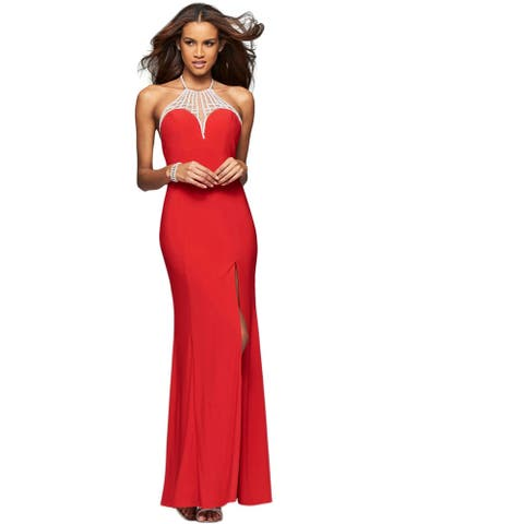 Faviana Womens Evening Dress Prom Open Back - Red