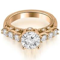 0.95 cttw. 14K Rose Gold Milgrain Round Cut Diamond Engagement Ring