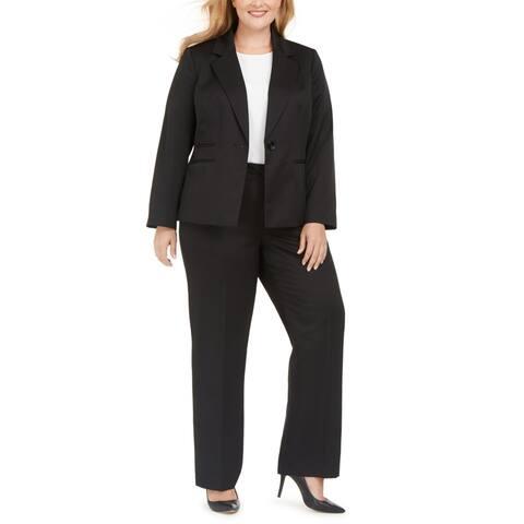 Le Suit Womens Plus Pant Suit One Button Tonal Stripe - Black - 20W