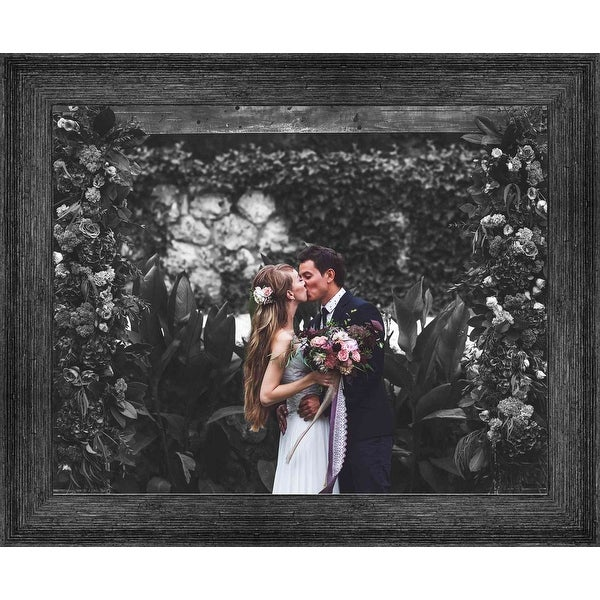 14x33 Black Barnwood Picture Frame - With Acrylic Front and Foam Board Backing - Black Barnwood (solid wood)