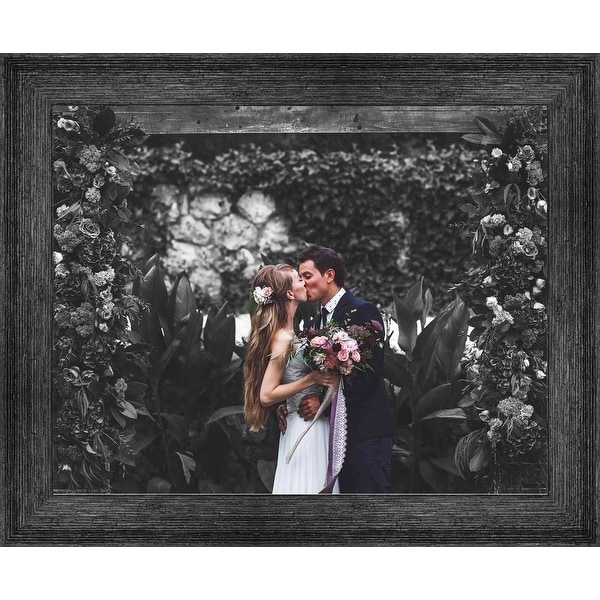 19x41 Black Barnwood Picture Frame - With Acrylic Front and Foam Board Backing - Black Barnwood (solid wood)