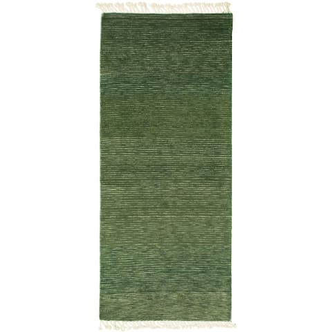 ECARPETGALLERY Hand-knotted Pak Finest Gabbeh Green Wool Rug - 2'6 x 6'2