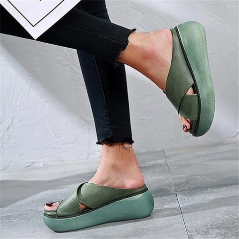 Platform Open Toe Comfy Casual Slide Sandals In 4 Color Choices