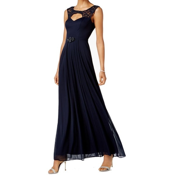 1b1a81f1b0f Shop Betsy Adam Blue Women s Size 8 Embellish Lace Cut Out Ruch Gown ...