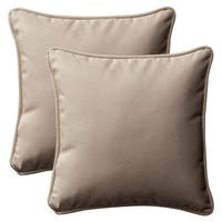 "Set of 2 Outdoor Patio Furniture Square Throw Pillows 18.5"" - Cosmic Beige - Brown"