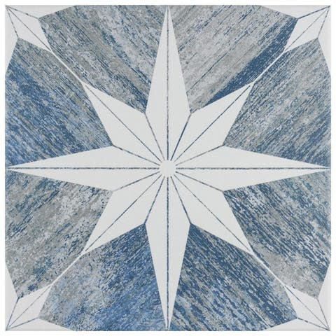 """SomerTile Cassis Stella Blue Day 9-3/4"""" x 9-3/4"""" Porcelain Floor and Wall Tile - Case 16 tiles"""