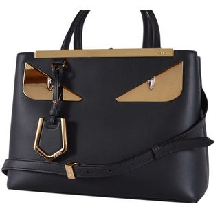 Fendi 8BH253 Black Leather BUG Eyes 2 Jours Crossbody Purse Handbag