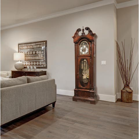 Howard Miller Coolidge Presidential Classic Grandfather Clock Style Standing Clock with Pendulum and Movements, Reloj de Piso