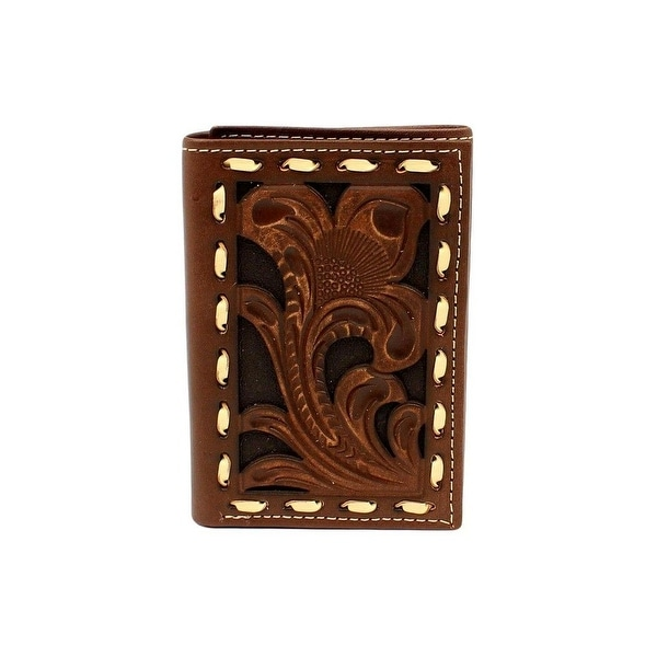 Ariat Western Wallet Mens Trifold Buck Lace Edges Brown - One size