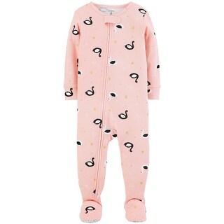 Carter's Baby Girls' 1-Piece Swan Snug Fit Cotton PJs, Pink - Multi