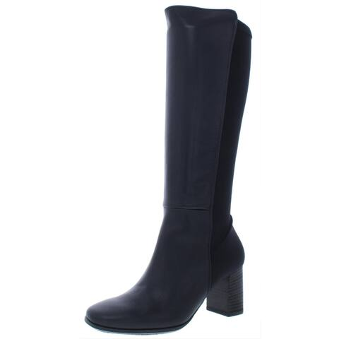 Paul Green Womens Belmont BT Knee-High Boots Leather Block Heel - Black Hydro Tim