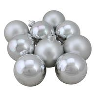 "9-Piece Shiny and Matte Silver Glass Ball Christmas Ornament Set 2.5"" (65mm)"