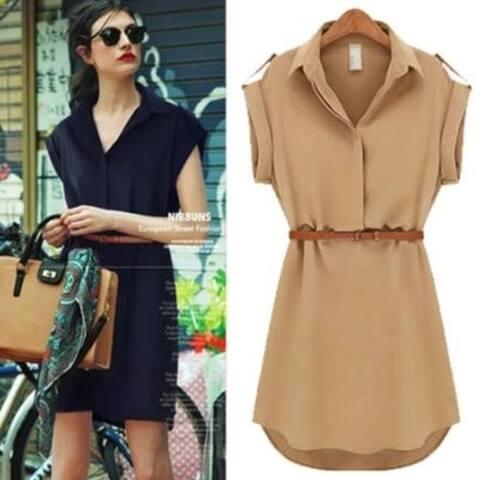 Women's Short Sleeve Loose Shirt Skirt Chiffon Dress
