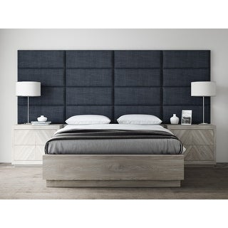 "VANT Upholstered Headboards - Accent Wall Panels - Packs Of 4 - Textured Cotton Weave Midnight Blue - 30"" Wide x 11.5"" Height."