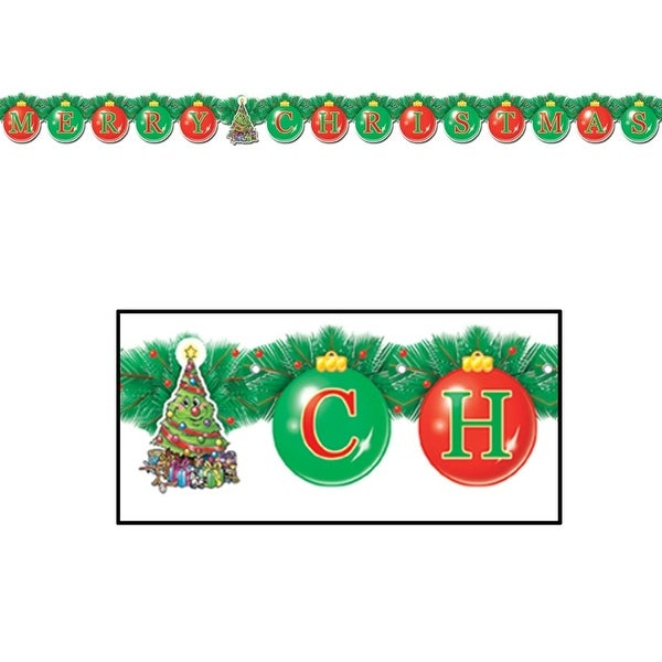 Club Pack of 12 Merry Christmas Jointed Streamer Holiday Party Decorations 5.5' - green