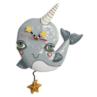 Allen Designs Narly Narwhal Whale Pendulum Wall Clock Battery Operated