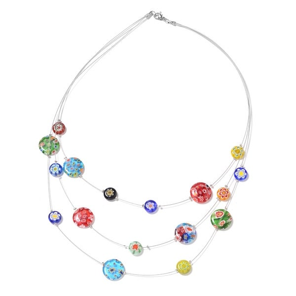 Stainless Steel Glass Drape Pendant Necklace Size 18 Inch Ct 65 - Size 18''. Opens flyout.