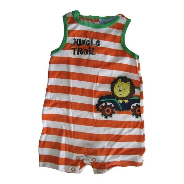 Carter's Baby Boys White Orange Striped Jungle Trail Sleeveless Bodysuit 0-9M