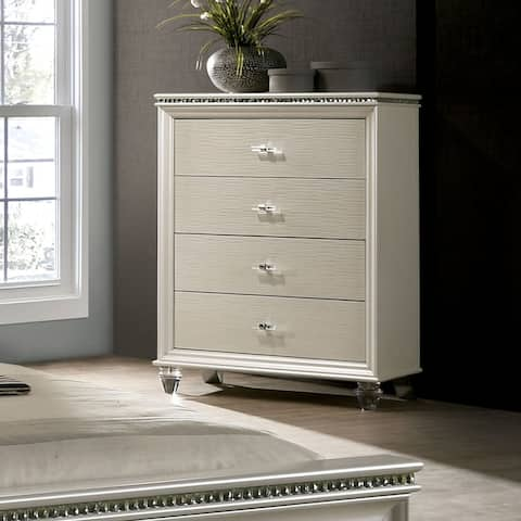 Silver Orchid Allenby Pearl White 4-drawer Chest