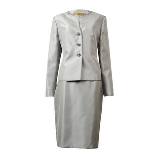 Kasper Women's Renaissance Beaded Slub Skirt Suit - Silver