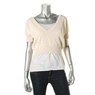 Nanette Lepore Womens Crop V-Neck Pullover Sweater - L