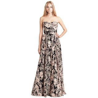 Marchesa Notte Black Strapless Sequined Embroidery Gown Dress - 8