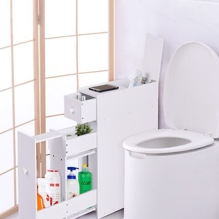 Costway Narrow Wood Floor Bathroom Storage Cabinet Holder Organizer Bath  Toilet   White