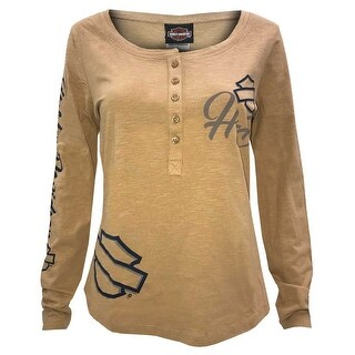 Harley-Davidson Women's Persistence Long Sleeve Henley Shirt, Light Bronze