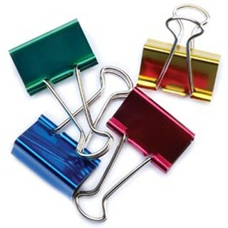"Office Supply Binding Large Binder Clips 1-1/4"" 4/Pkg- Assorted Colors Filing"