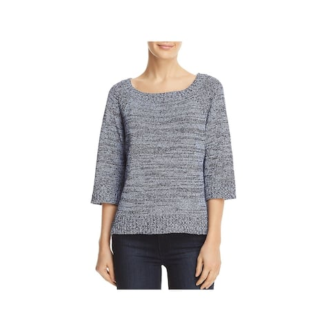 Three Dots Womens Pullover Sweater Heathered Ribbed Trim