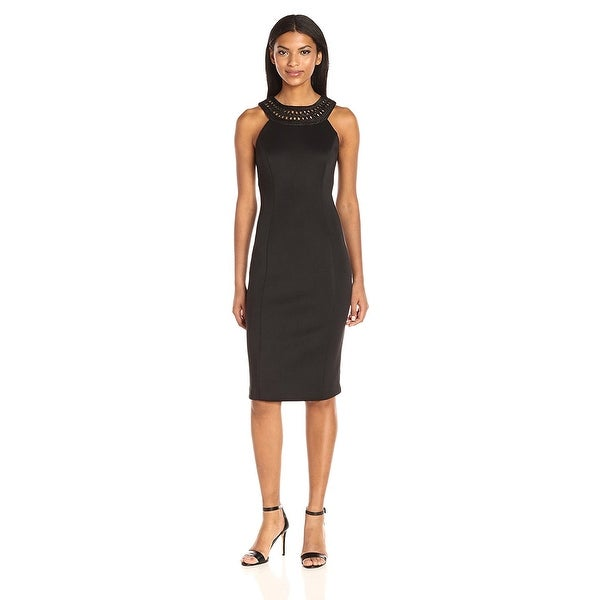 Jessica Simpson Embroidered Halter Sheath Dress Black