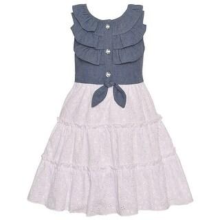 Bonnie Jean Little Girls Blue Knot Ruffle Embroidered Sleeveless Dress
