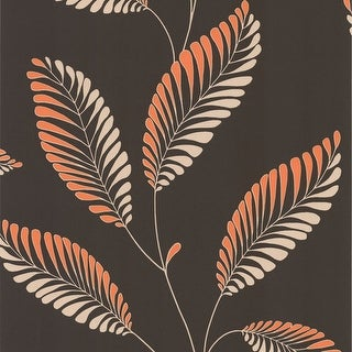 Brewster DL30469 Aubrey Dark Brown Modern Leaf Trail Wallpaper