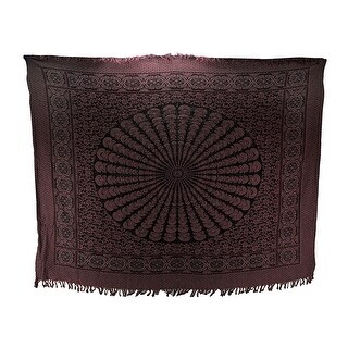Pink and Black Boho Cotton Fringe Mandala Tapestry