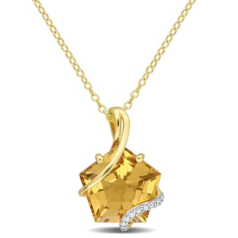 Miadora Fancy-cut Citrine and Diamond Accent Swirl Necklace in Yellow Plated Sterling Silver