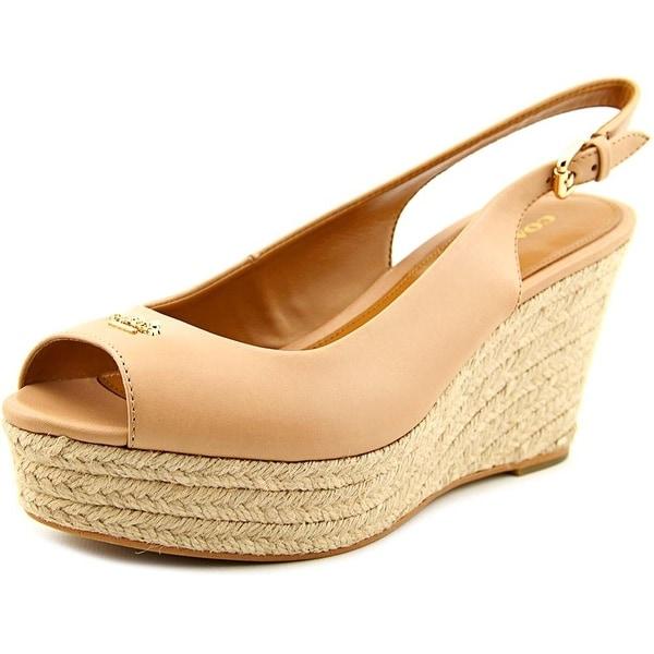 Coach Womens Ferry Semi Matte Calf Leather Peep Toe Casual Platform Sandals