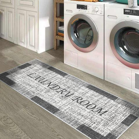 "SussexHome Washable Ultra Thin Non Skid Cotton Laundry Room Rug Runner - 20"" x 59"""