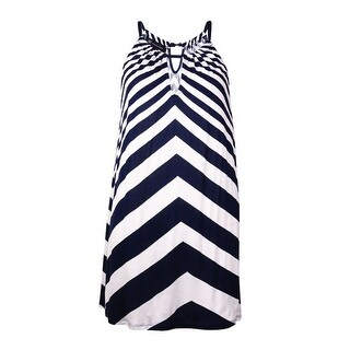 INC International Concepts Women's Striped Halter Top (M, White/Twilight) - white/twilight - m
