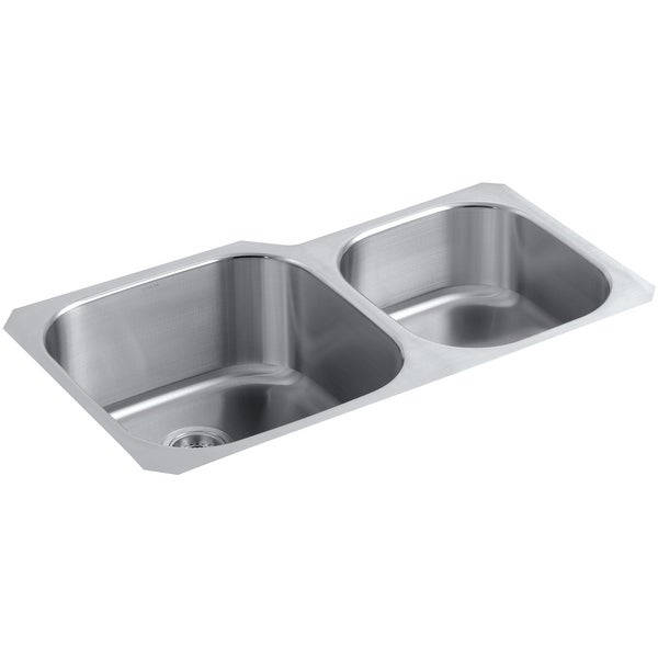 "Kohler K-3356-HCF Undertone 35-1/8"" Double Basin Undermount 18-Gauge Preserve Series Scratch Resistant Stainless Steel Kitchen"