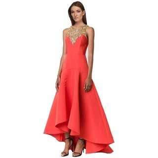 Marchesa Notte Embellished Yoke Faille Evening Gown Dress Poppy - 4