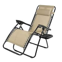 Sunnydaze Oversized Zero Gravity Lounge Chair with Pillow and Cup Holder