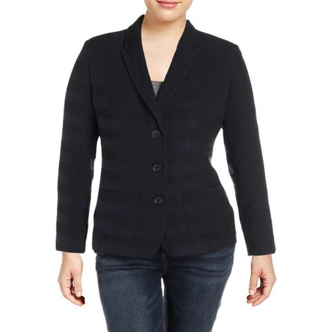 Basler Womens Knit Blazer Shadow Striped Professional - Seabreeze