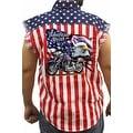 Men's Biker USA Flag Sleeveless Denim Shirt Motorcycle Bald Eagle Stars & Stripes - Thumbnail 0