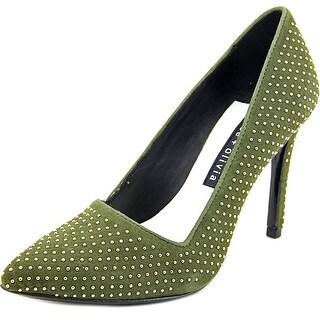 Alice & Olivia Dina Women Pointed Toe Suede Green Heels