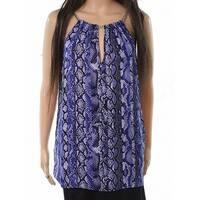 MICHAEL Michael Kors Blue Womens Size Medium M Snake Print Blouse