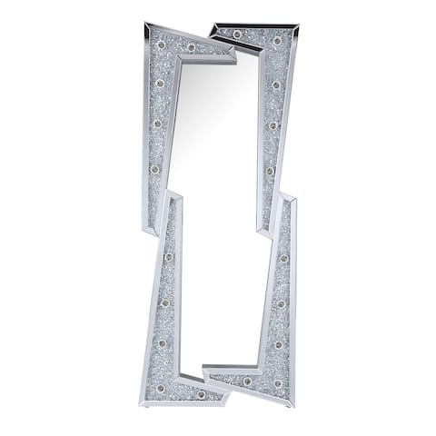 Irregular Shaped Faux Diamond Inlay Accent Floor Mirror with LED, Silver